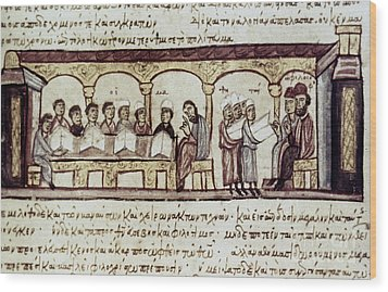 Byzantine Philosophy School Wood Print by Granger
