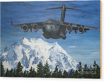 C-17 And Mt. Rainier Wood Print