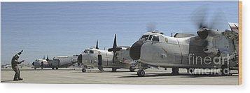 C-2a Greyhound Aircraft Start Wood Print by Stocktrek Images