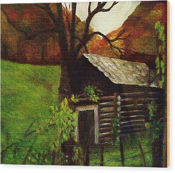 Wood Print featuring the painting Cabin By A Hillside by Christy Saunders Church
