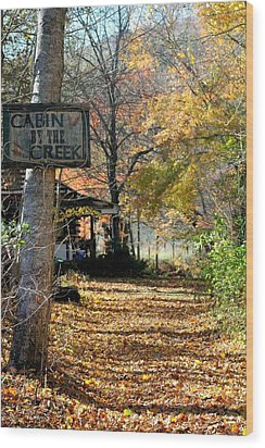 Wood Print featuring the photograph Cabin By The Creek by Laurinda Bowling
