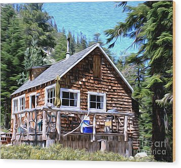 Cabin By The Lake Wood Print by Anne Raczkowski
