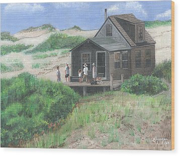 Cabin In The Dunes Wood Print