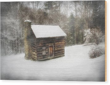 Cabin In The Fog Wood Print by Christine Annas