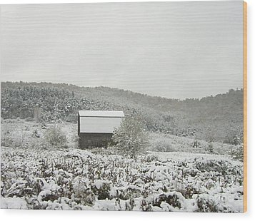 Wood Print featuring the photograph Cabin In The Snow by Michael Waters