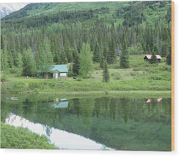 Cabin Living Reflections Wood Print
