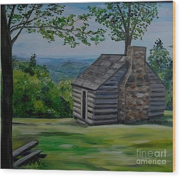 Wood Print featuring the painting Cabin On The Blue Ridge Parkway In Va by Julie Brugh Riffey