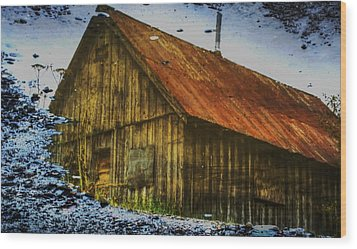 Cabin Reflect Wood Print by Tom Liesener