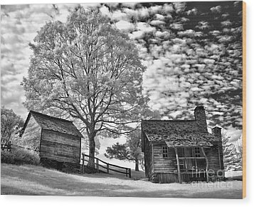 Cabin Under Buttermilk Skies I Wood Print by Dan Carmichael