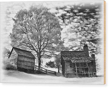 Cabin Under Buttermilk Skies Vignette Wood Print by Dan Carmichael