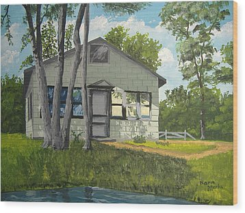 Cabin Up North Wood Print by Norm Starks