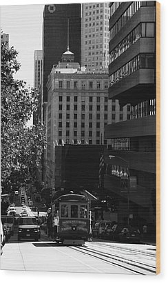 Cablecar On San Francisco California Street . Bw . 7d7176 Wood Print by Wingsdomain Art and Photography