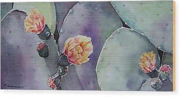 Cactus Bloom Wood Print by Regina Ammerman