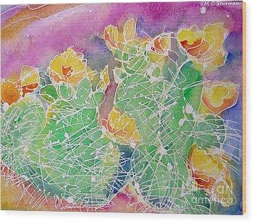 Cactus Color Wood Print by M C Sturman