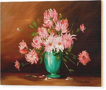 Cactus Dahlias Wood Print by Barbara Pirkle