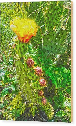 Cactus Flower - 02 Wood Print by Gregory Dyer