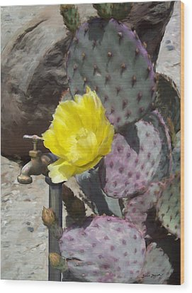 Cactus Flower 2 Wood Print by Snake Jagger