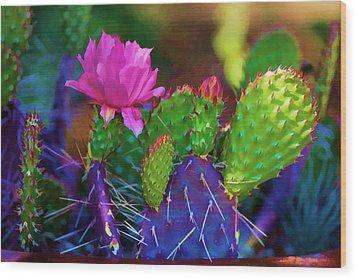 Cactus Flowers In Pink Wood Print
