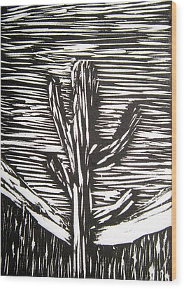 Cactus Wood Print by Marita McVeigh