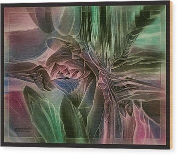 Wood Print featuring the pastel Cactusbudcomp 2010 by Glenn Bautista