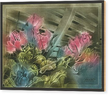 Wood Print featuring the pastel Cactuscompc 2010 by Glenn Bautista
