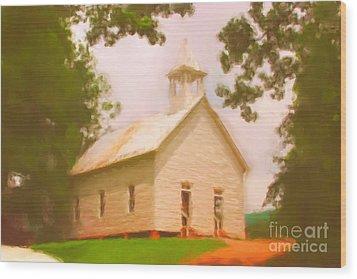 Cade's Cove Church Wood Print by Chris Gafford