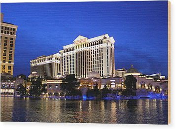 Caesars Palace At Dusk Wood Print