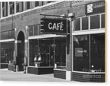 Cafe Wood Print by Lawrence Burry