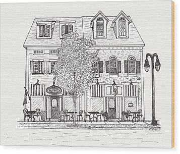 Cafe Mantic Wood Print by Michelle Welles