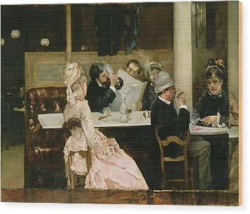 Cafe Scene In Paris Wood Print by Henri Gervex