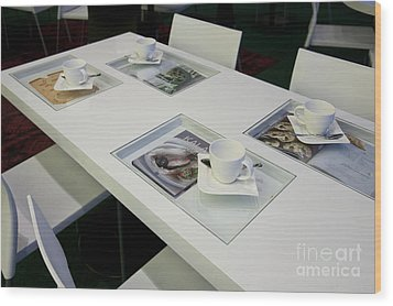 Cafe Table With Cookbooks Wood Print by Jaak Nilson