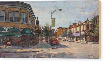 Caffe' Aroma In Elmwood Ave Wood Print by Ylli Haruni