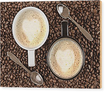 Caffe Latte For Two Wood Print by Gert Lavsen