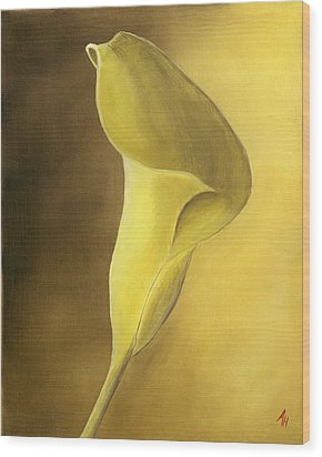 Cala Lilly Wood Print by Ash Hussein