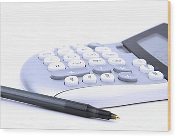 Calculator And Pen Wood Print by Blink Images