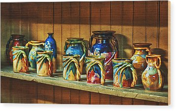 Calico Pottery Wood Print by Brenda Bryant