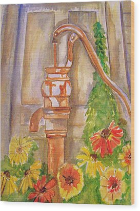 Calico Water Pump Wood Print by Belinda Lawson