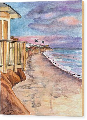 Wood Print featuring the painting California Coast by Clara Sue Beym