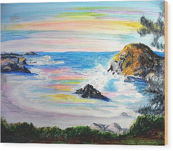 California Coast Wood Print by Susan  Clark