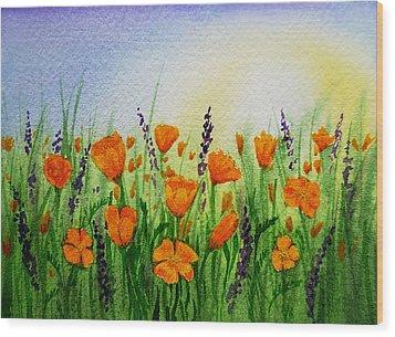 California Poppies Field Wood Print by Irina Sztukowski