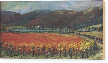 Calistoga Vineyard In Napa Valley By Deirdre Shibano Wood Print by Deirdre Shibano