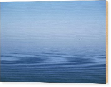 Calm Blue Water Disappearing Into Wood Print by Axiom Photographic