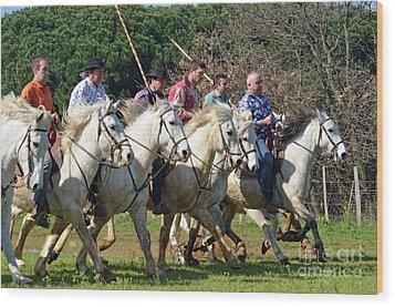 Camargue Cowboys Riding Horses Wood Print by Sami Sarkis