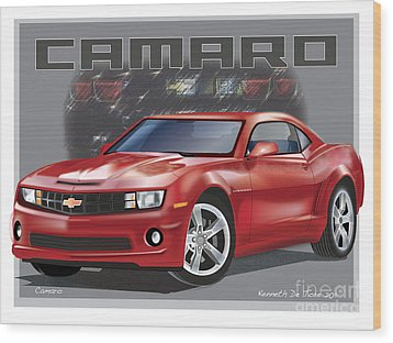 Camaro Wood Print by Kenneth De Tore