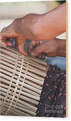 Wood Print featuring the photograph Cambodian Basket Weaver by Nola Lee Kelsey