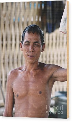 Wood Print featuring the photograph Cambodian Dignity by Nola Lee Kelsey