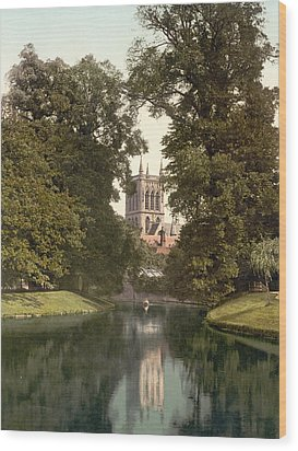 Cambridge - England - St. Johns College Chapel From The River Wood Print by International  Images