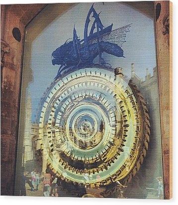 #cambridge #steampunk #clock Wood Print by Christelle Vaillant