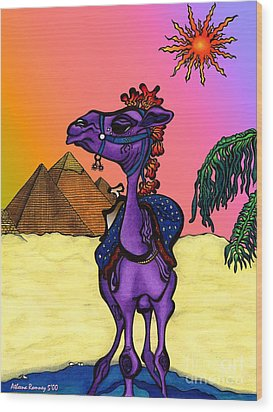 Camel In Giza Wood Print