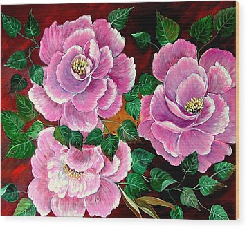 Camellias Wood Print by Fram Cama